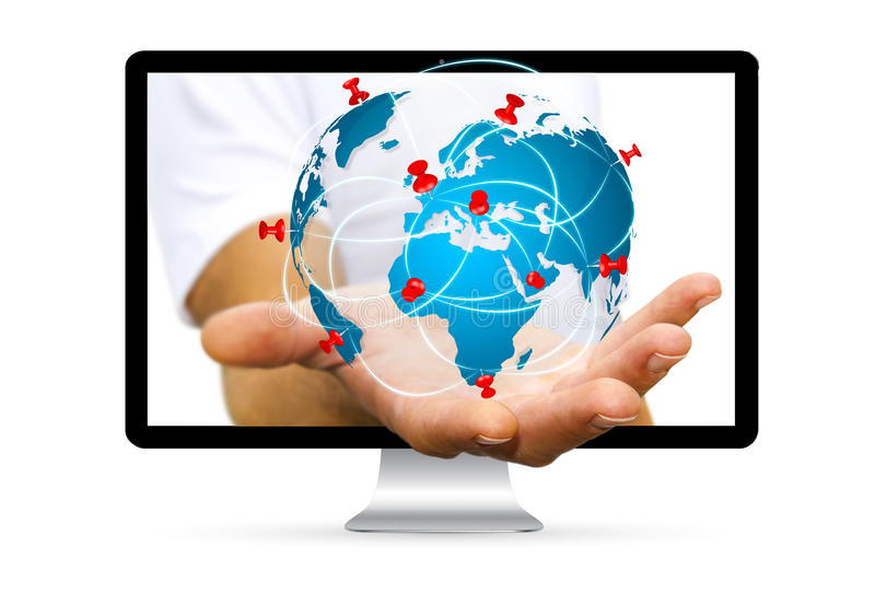 Businessman escaping from computer holding digital world map in businessman going out of a computer screen with digital world map and pins floating over his hand gumiabroncs Choice Image