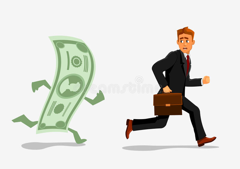 Businessman escaping dollar, running from banknote stock illustration