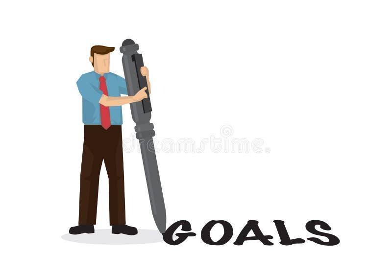 Businessman escreve uma palavra-gol com sua caneta gigante Conceito de gerenciamento ou eficiência de meta ilustração royalty free