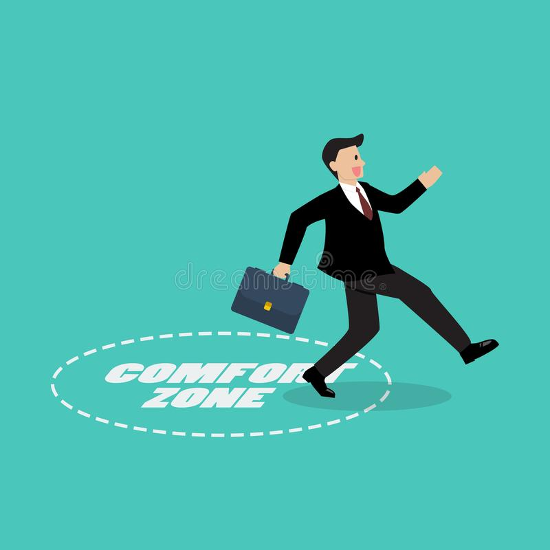 Businessman exit from comfort zone stock illustration