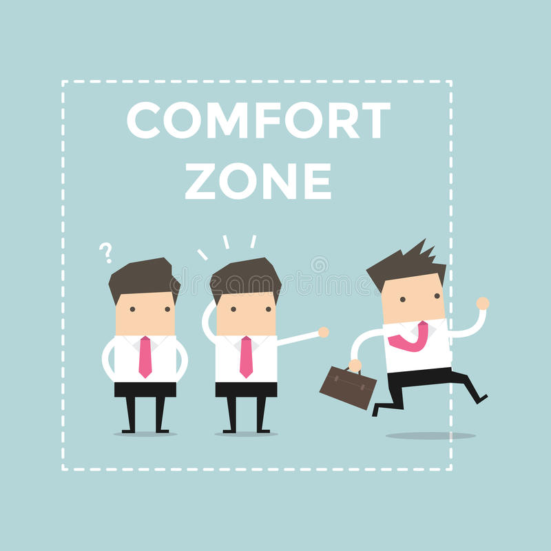 Businessman exit from comfort zone. stock illustration