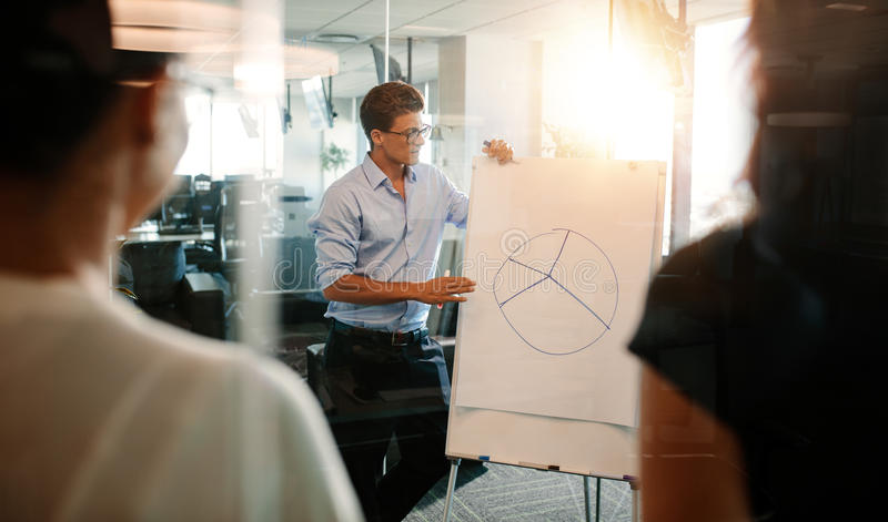 Businessman explaining pie chart to colleagues in office stock photo