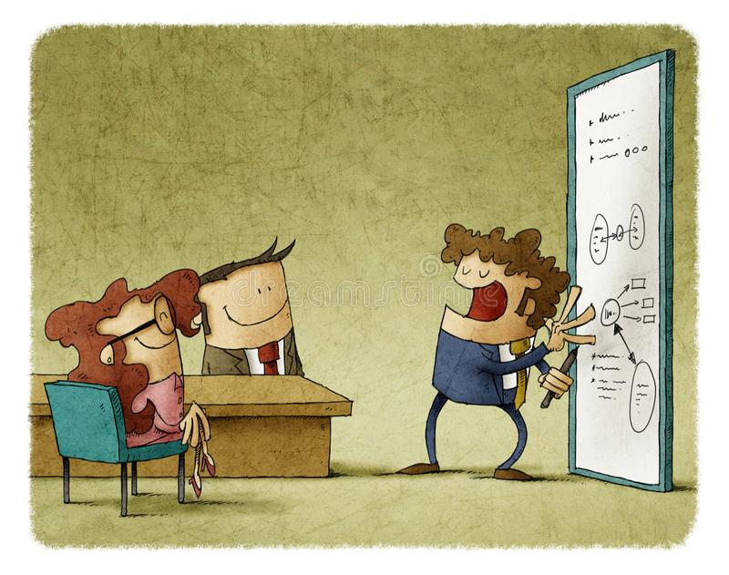 Businessman is explaining to a bisinessteam notes on whiteboard. Illustration of businessman is explaining to a bisinessteam notes on whiteboard royalty free illustration