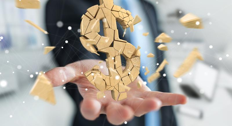 Businessman with exploding dollar currency 3D rendering vector illustration