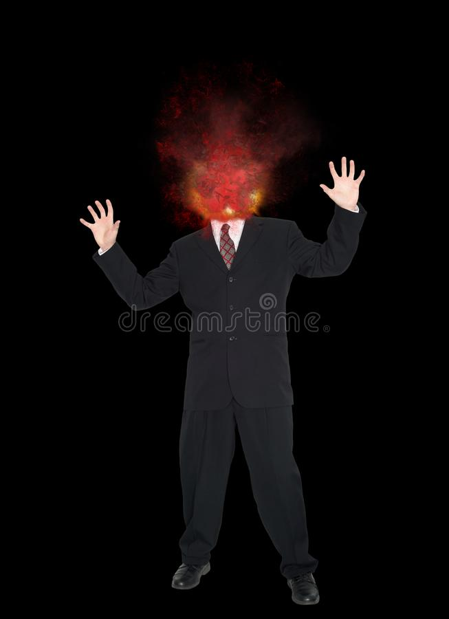 Businessman, Exploding Head, Stress, Headache. Abstract concept for sales, marketing, and business. A businessman has an exploding head from stress over his job royalty free stock image