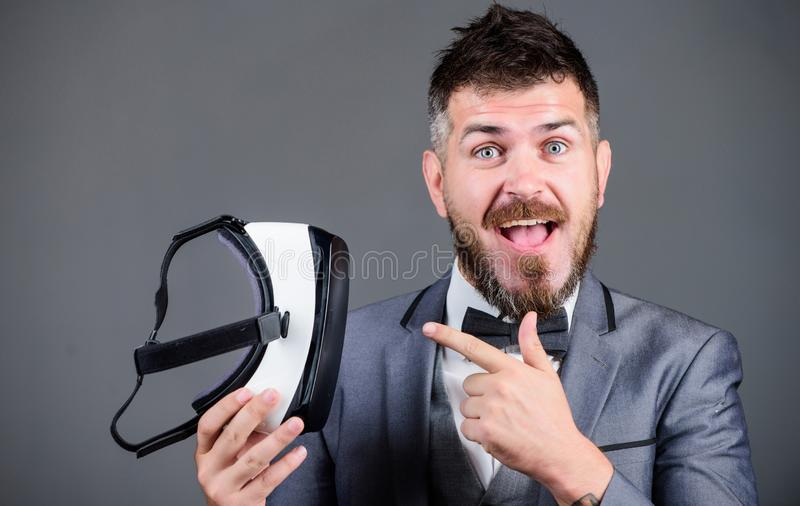 Businessman explore virtual reality. Digital technology for business. Business implement modern technology. Business man. Virtual reality. Modern gadget stock images