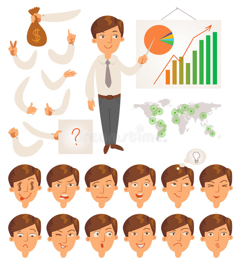 Businessman. Face and body elements royalty free illustration