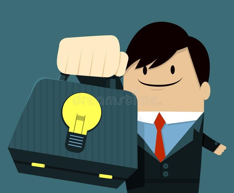 Businessman face smile and Showing Bag-Light Bulb royalty free illustration