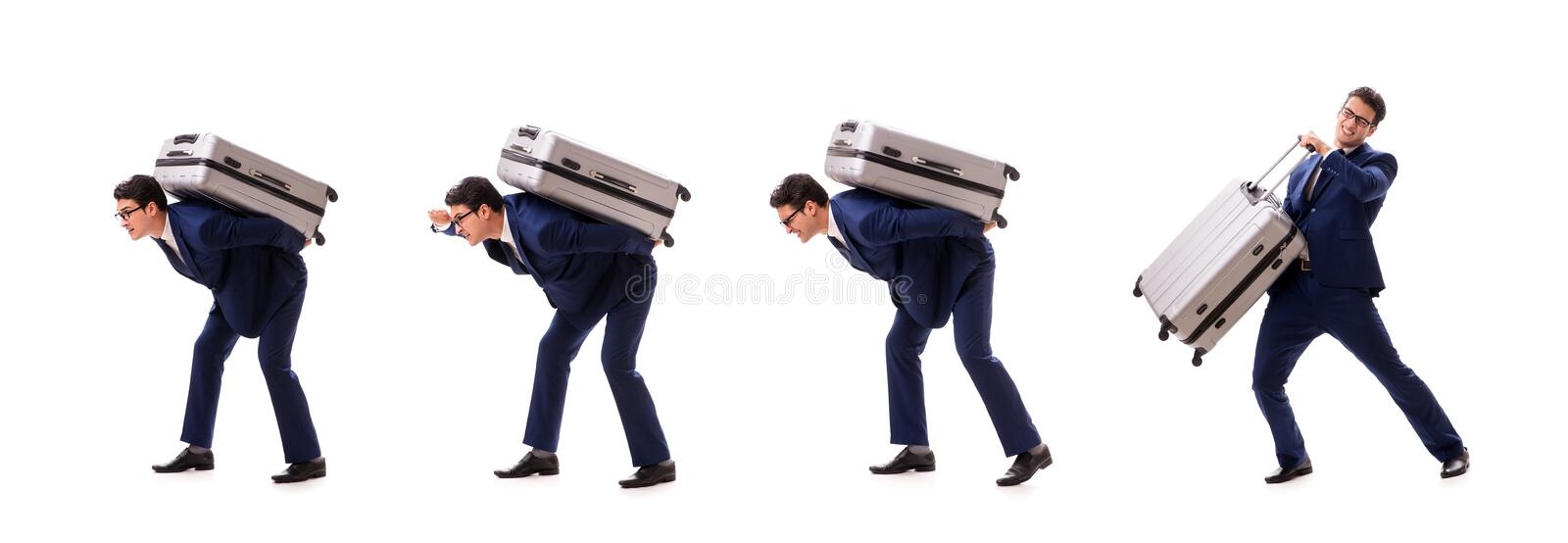 The businessman facing excess charges due to heavy suitcase. Businessman facing excess charges due to heavy suitcase royalty free stock photography