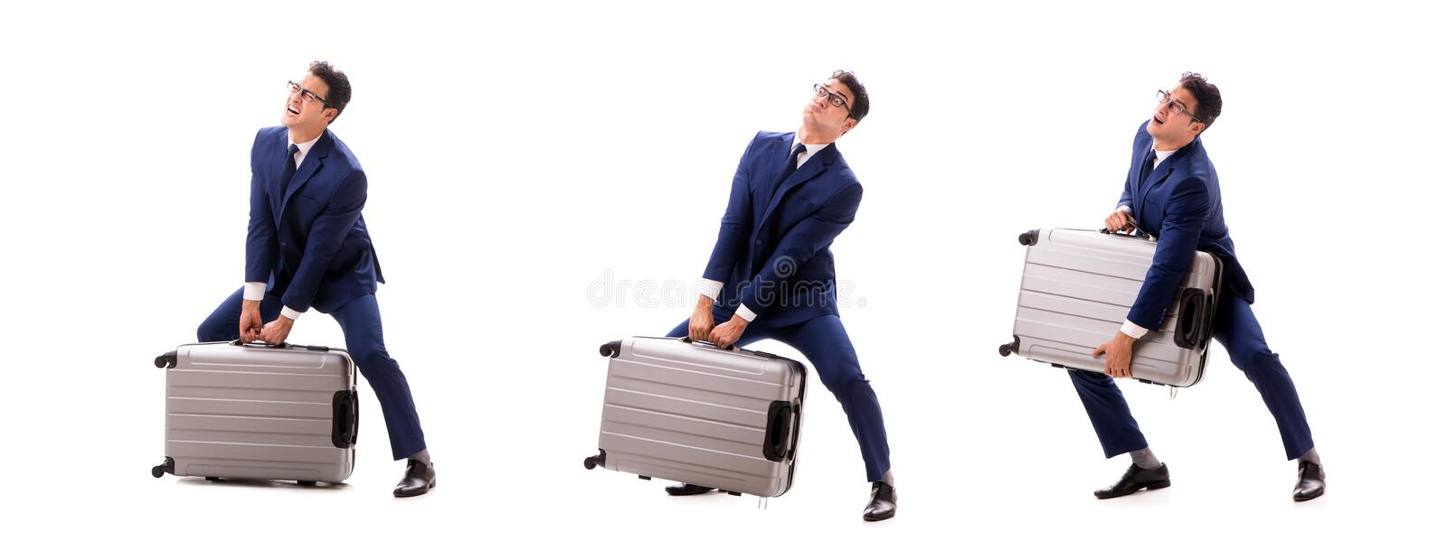The businessman facing excess charges due to heavy suitcase. Businessman facing excess charges due to heavy suitcase royalty free stock photos