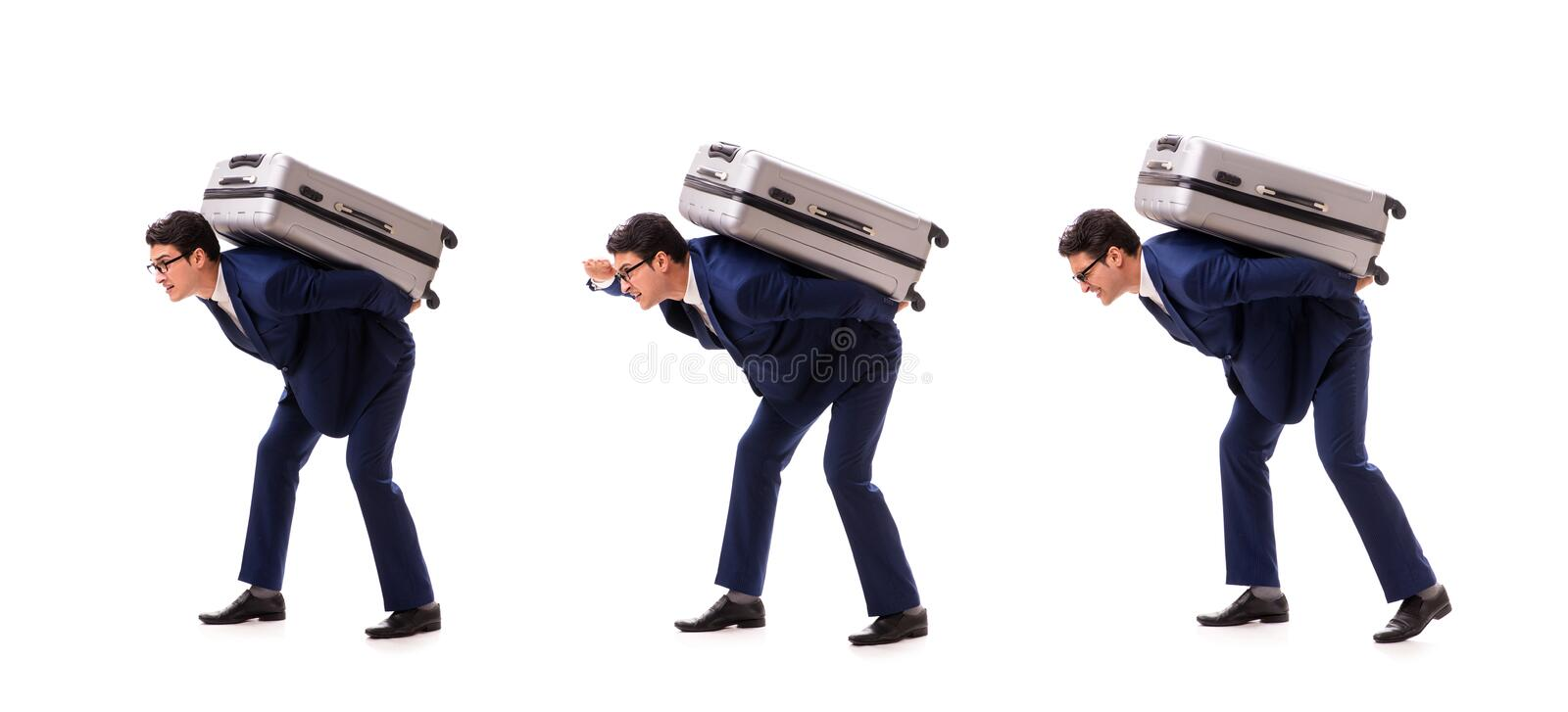The businessman facing excess charges due to heavy suitcase. Businessman facing excess charges due to heavy suitcase royalty free stock image