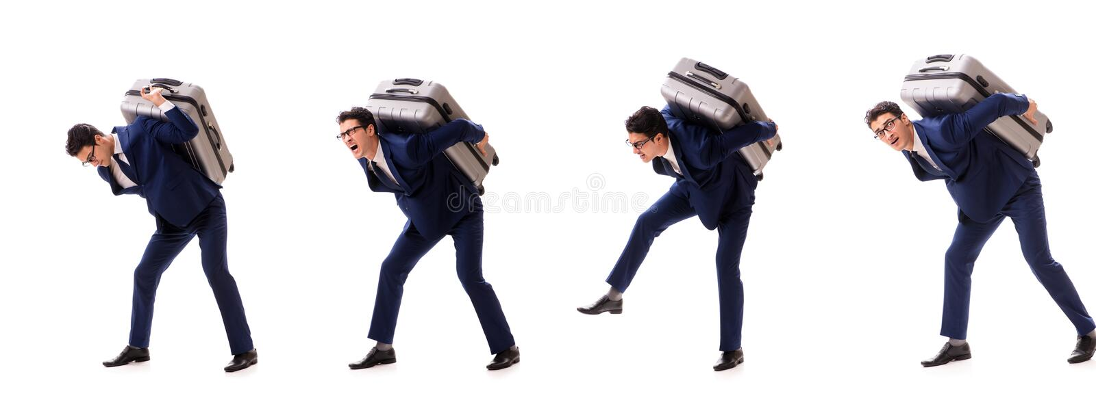 The businessman facing excess charges due to heavy suitcase. Businessman facing excess charges due to heavy suitcase stock photo