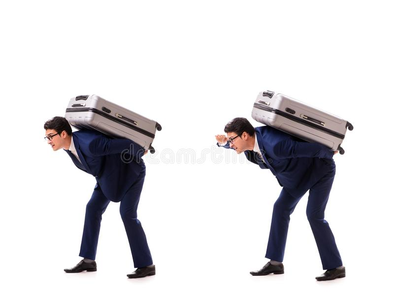 The businessman facing excess charges due to heavy suitcase. Businessman facing excess charges due to heavy suitcase royalty free stock photo