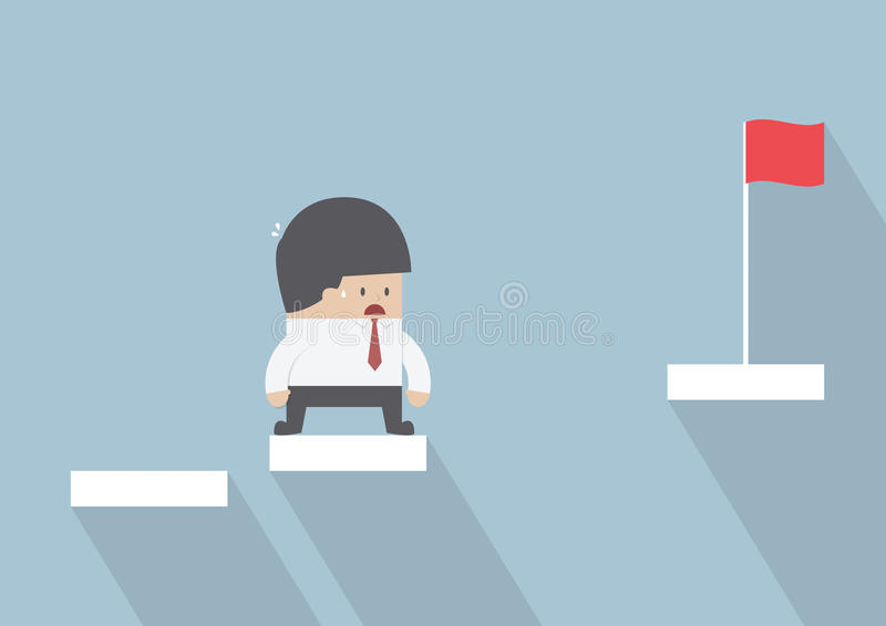 Businessman facing with the missing step to success royalty free illustration