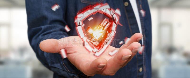 Businessman facing security break 3D rendering vector illustration