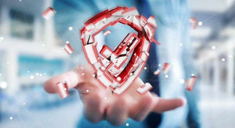 Businessman facing security break 3D rendering royalty free illustration