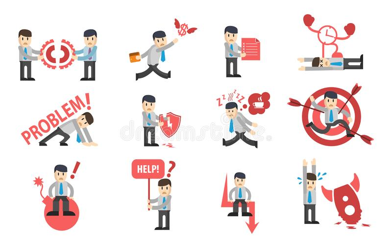 Businessman failures character design set. Сollection of business stories. Flat style modern vector illustration. stock illustration