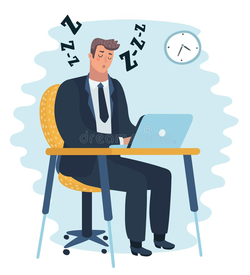 Businessman falling asleep at his work, business concept in sleeping, dozing, relaxing, take a break or lazy at working. Vector cartoon illustration of royalty free illustration