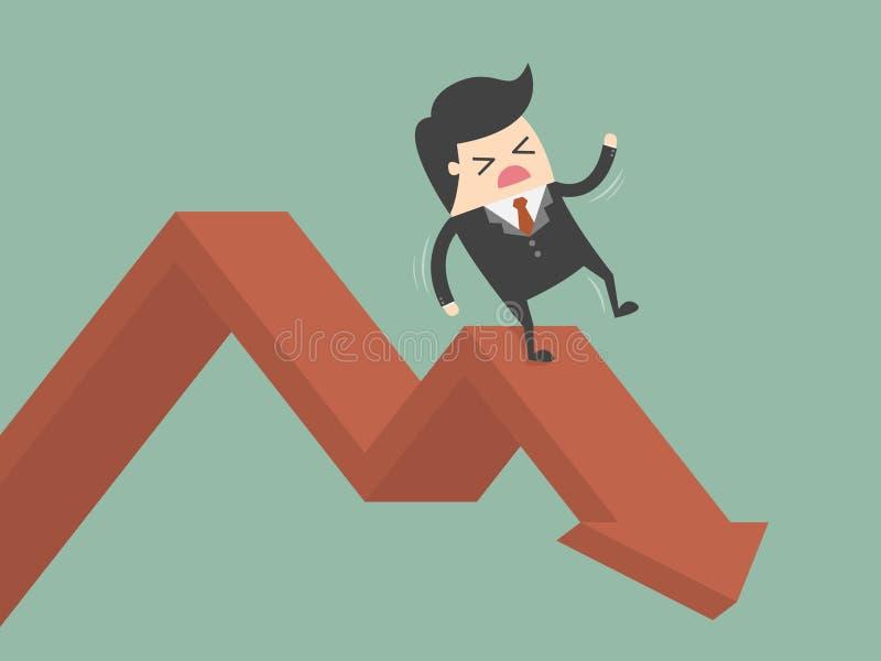 Businessman On Falling Down Chart. Business Concept Cartoon Illustration stock illustration