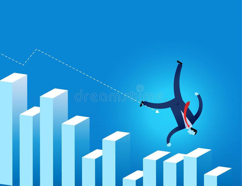 Businessman falling on financial graph with arrow trending down vector illustration