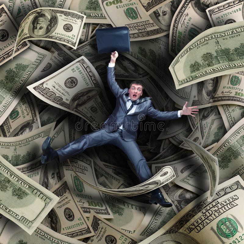Download Businessman Falling Into Financial Tunnel Stock Image - Image of dollar, depression: 31650449