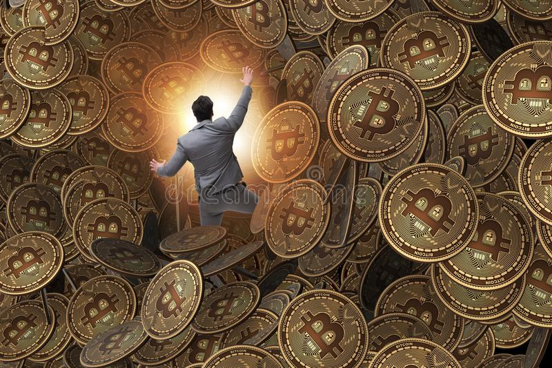 The businessman falling into sinkhole of cryptocurrency bitcoin. Businessman falling into sinkhole of cryptocurrency bitcoin stock illustration
