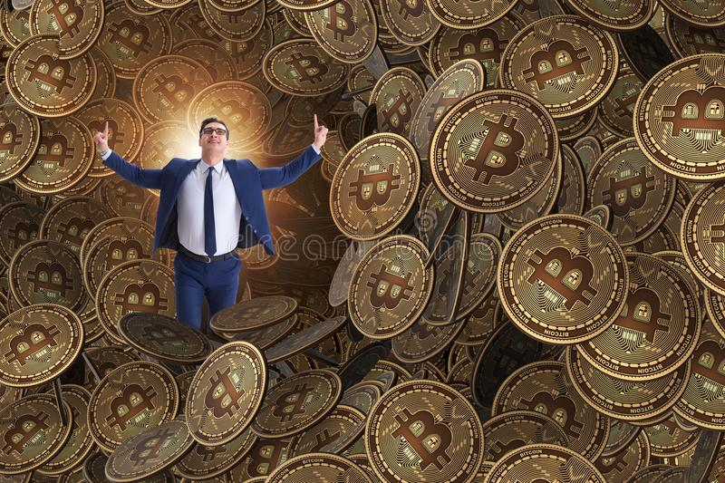 The businessman falling into sinkhole of cryptocurrency bitcoin. Businessman falling into sinkhole of cryptocurrency bitcoin vector illustration