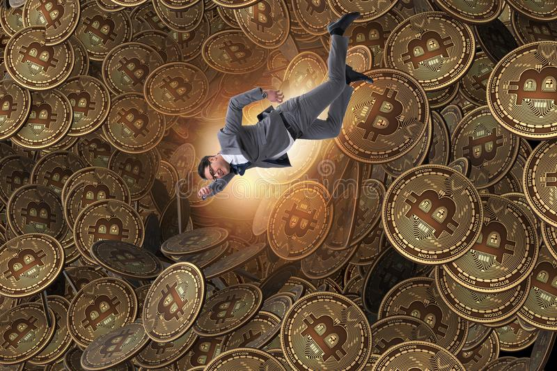 The businessman falling into sinkhole of cryptocurrency bitcoin. Businessman falling into sinkhole of cryptocurrency bitcoin royalty free illustration