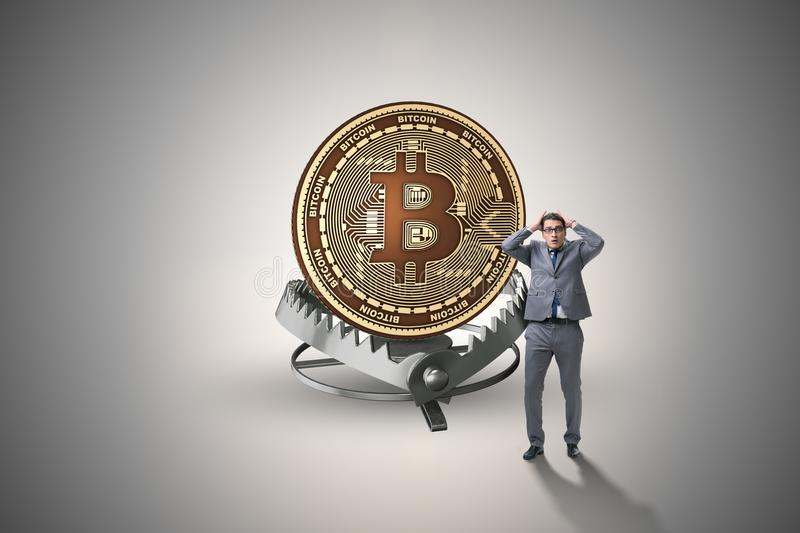 The businessman falling into the trap of bitcoin cryptocurrency. Businessman falling into the trap of bitcoin cryptocurrency stock illustration