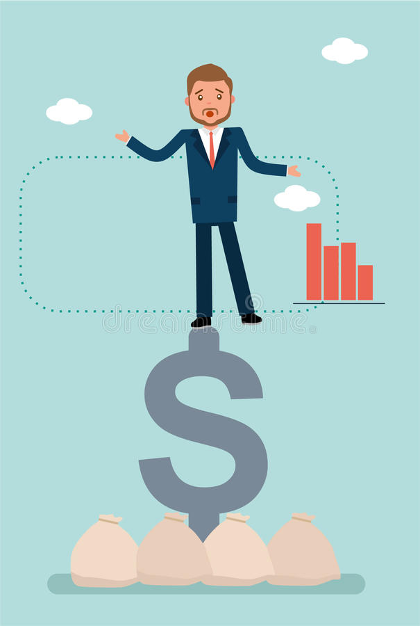 A businessman falls from the dollar sign. stock illustration