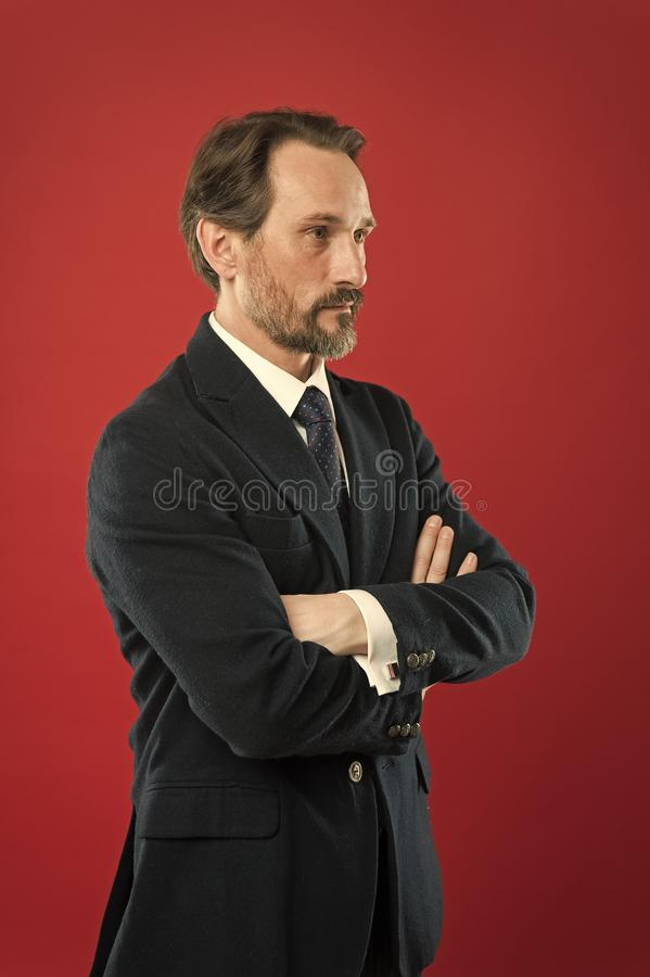 Businessman fashionable outfit. Attractive man wear suit. Perfect elegant tuxedo outfit. Fashion concept. Guy wear stock photo