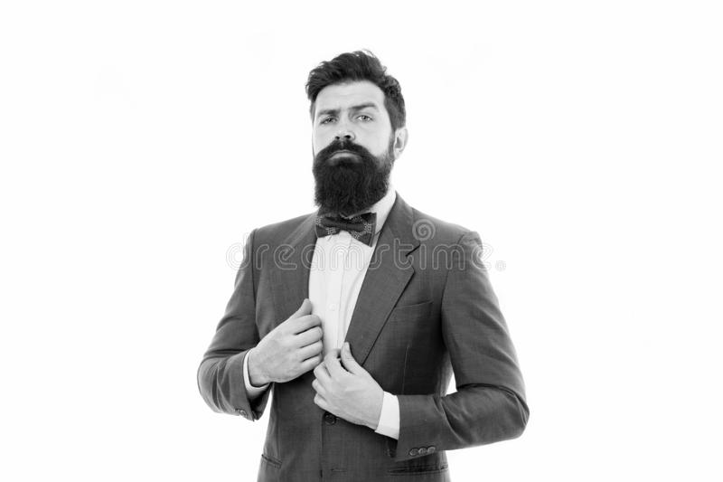 Businessman fashionable outfit isolated white. Man bearded hipster wear classic suit outfit. Formal outfit. Take good stock images