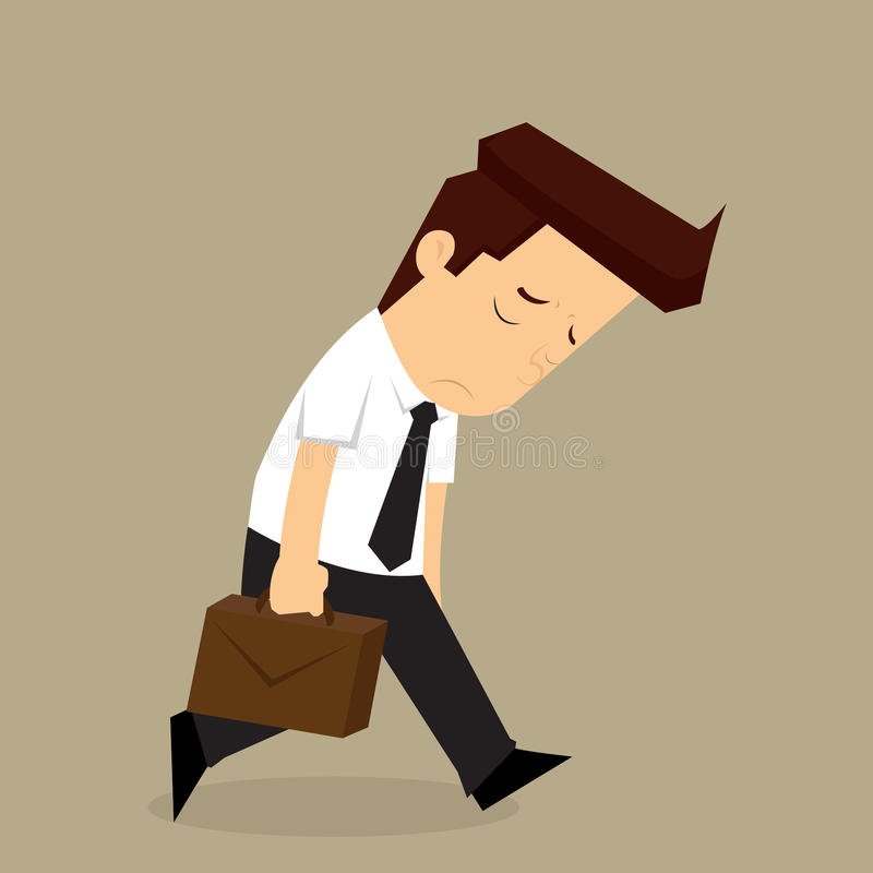 Businessman fatigue because of hard work. Vector royalty free illustration