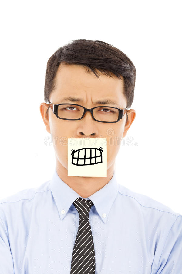 Businessman feel helpless and angry expression on sticker. In studio stock images