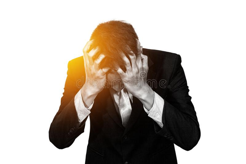 Businessman feeling stress from business work , monotone color royalty free stock images