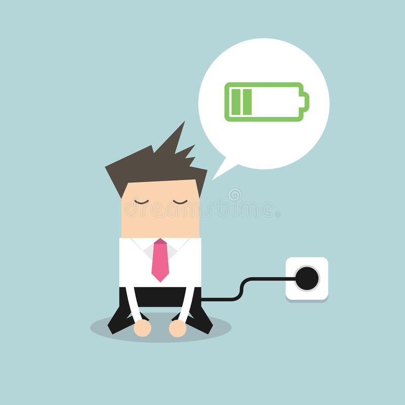 Businessman feeling tired and charging battery vector illustration