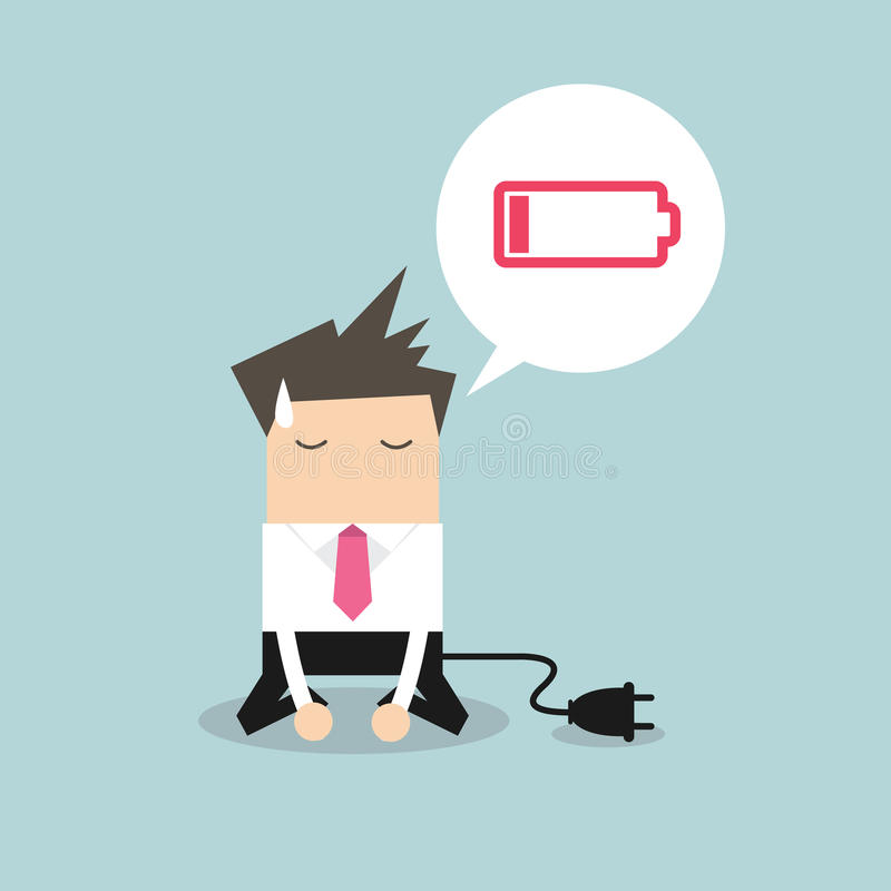 Businessman feeling tired and low battery stock illustration