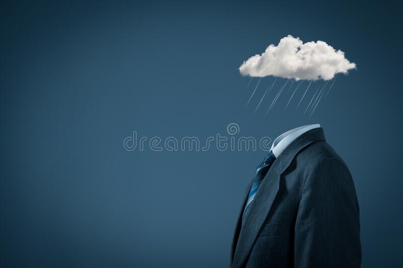 Businessman feels blue in crisis time royalty free stock images