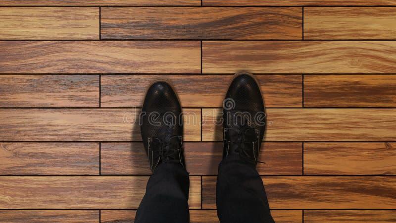 Businessman feet on parquet make step forward, work opportunity job interview stock photo