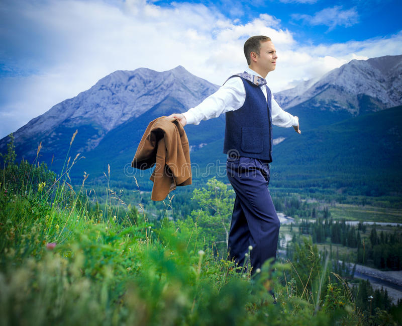 Businessman in field stock photos