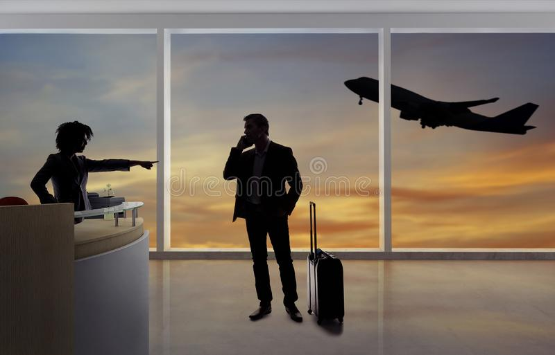 Businessman Fighting with Flight Attendant or Receptionist at the Airport stock image