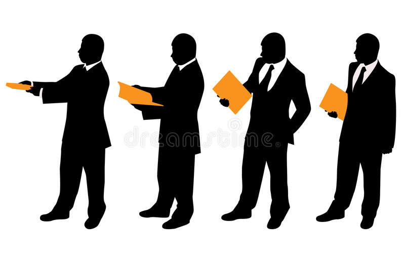 Businessman with files stock illustration