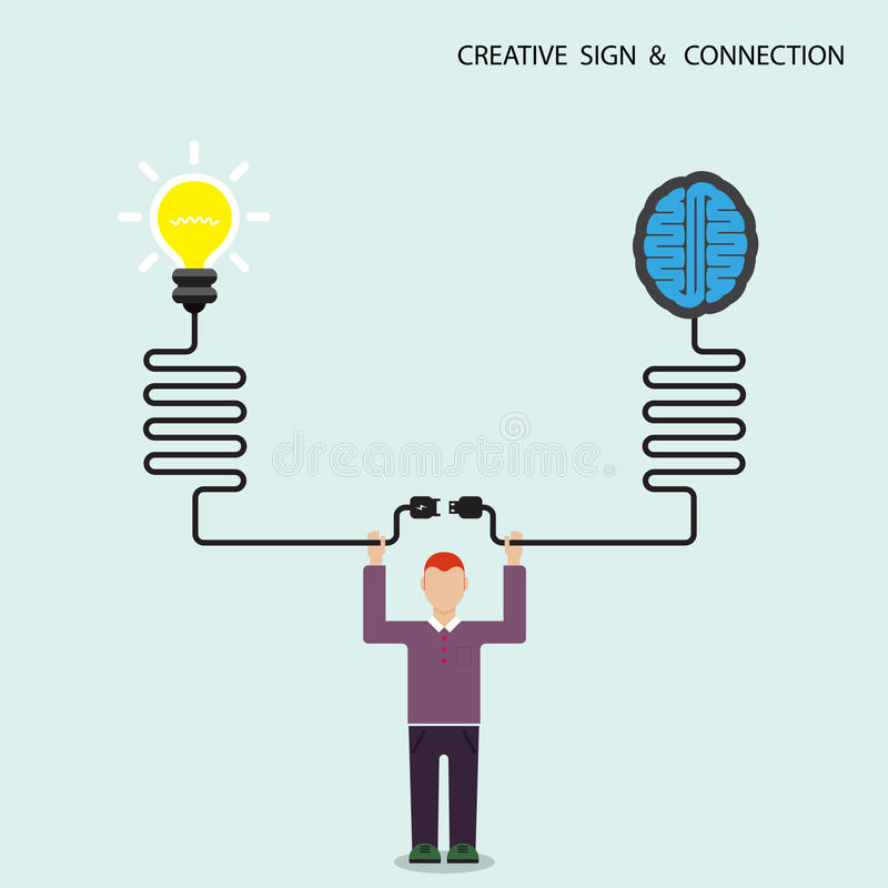 Businessman, finance and creative light bulb brain symbol. Knowledge connection concept. Business and education connection concept. Vector illustration vector illustration