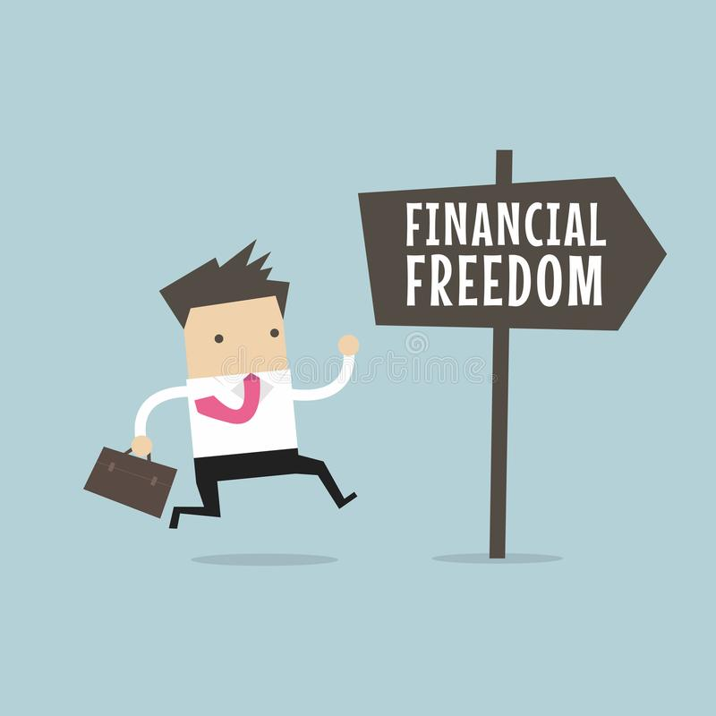Businessman with Financial Freedom sign. Business Concept. stock illustration