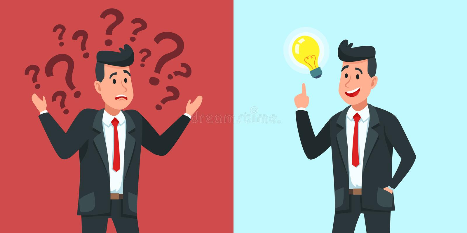 Businessman find idea. Confused business worker wonders and finds solution or solved problem cartoon vector illustration stock illustration