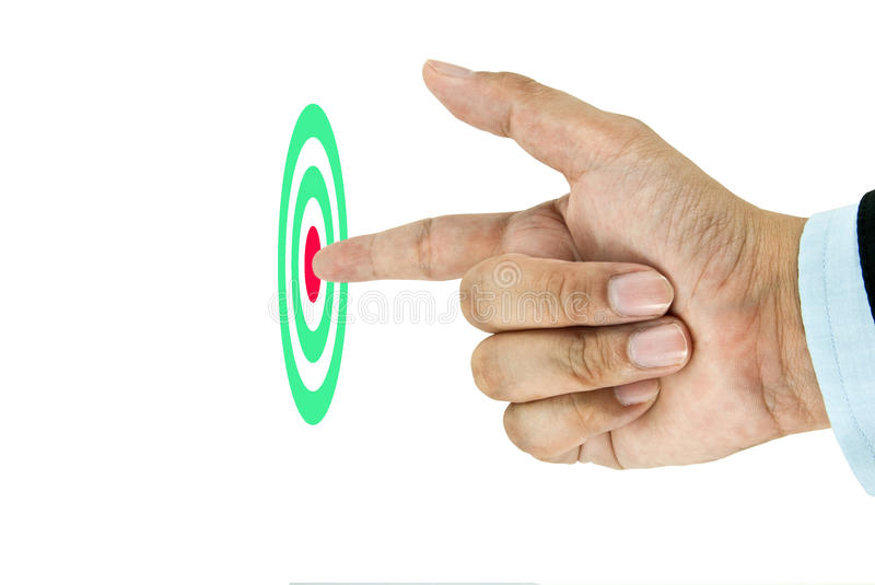 Businessman Finger pointing to the target. This image idea for successful royalty free stock photos