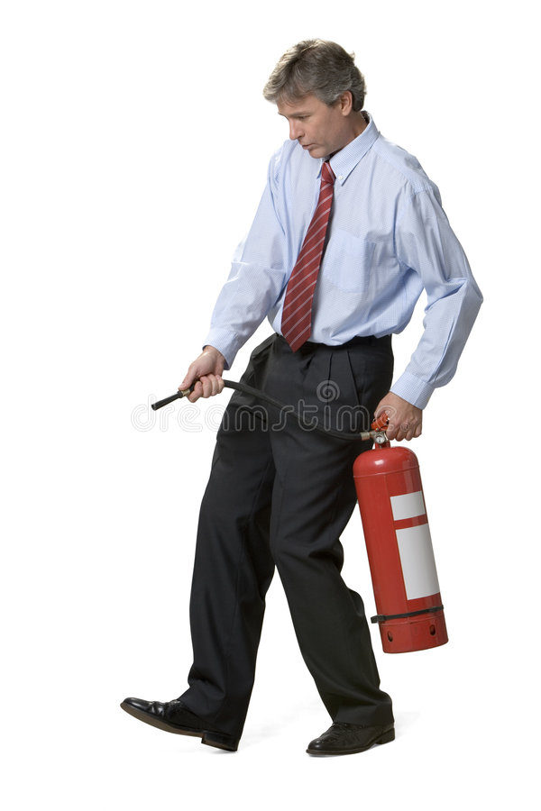 Businessman and fire extinguisher royalty free stock photos