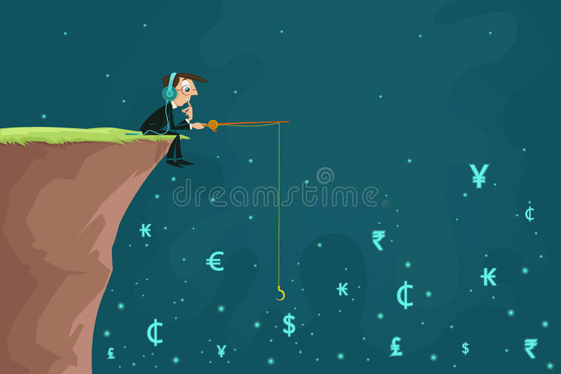 Businessman fishing Currency royalty free illustration