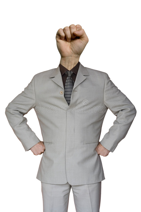 Businessman Fist Hand Head. A funny businessman with a fist hand head stock images