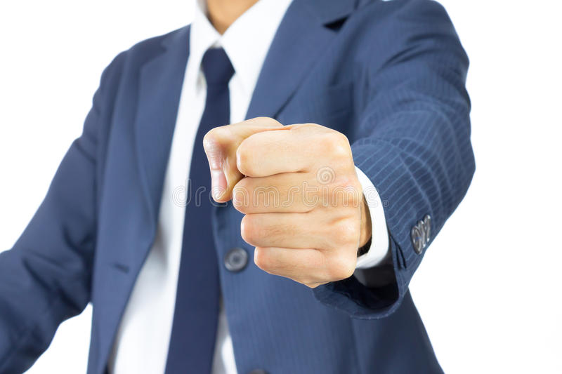 Businessman Fist Isolated on White Background on Vertical View. Businessman Fist in Blue Suit Isolated on White Background on Vertical View. Concept about royalty free stock photography